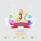 Táplálkozási termékek a gyerekek vektor Omega 3 és a vitaminok vagy kalcium logó ikon