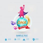 Výživa Omega 3 a vitamíny nebo vápník Logo ikonu pro výrobky pro děti vektor