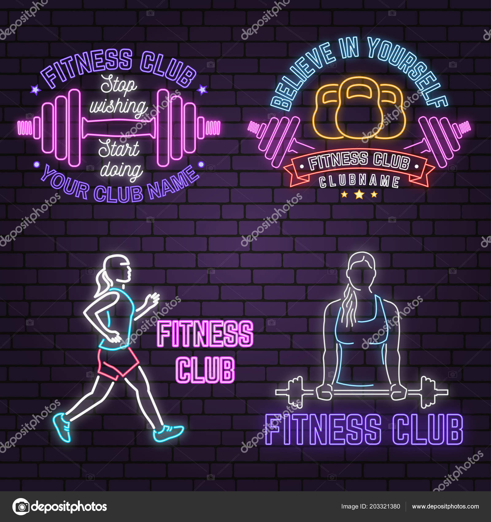 Neon fitness club sign on brick wall background vector illustration neon fitness club sign on brick wall background vector illustration believe in yourself neon design for fitness centers emblems gym signs related health solutioingenieria Choice Image