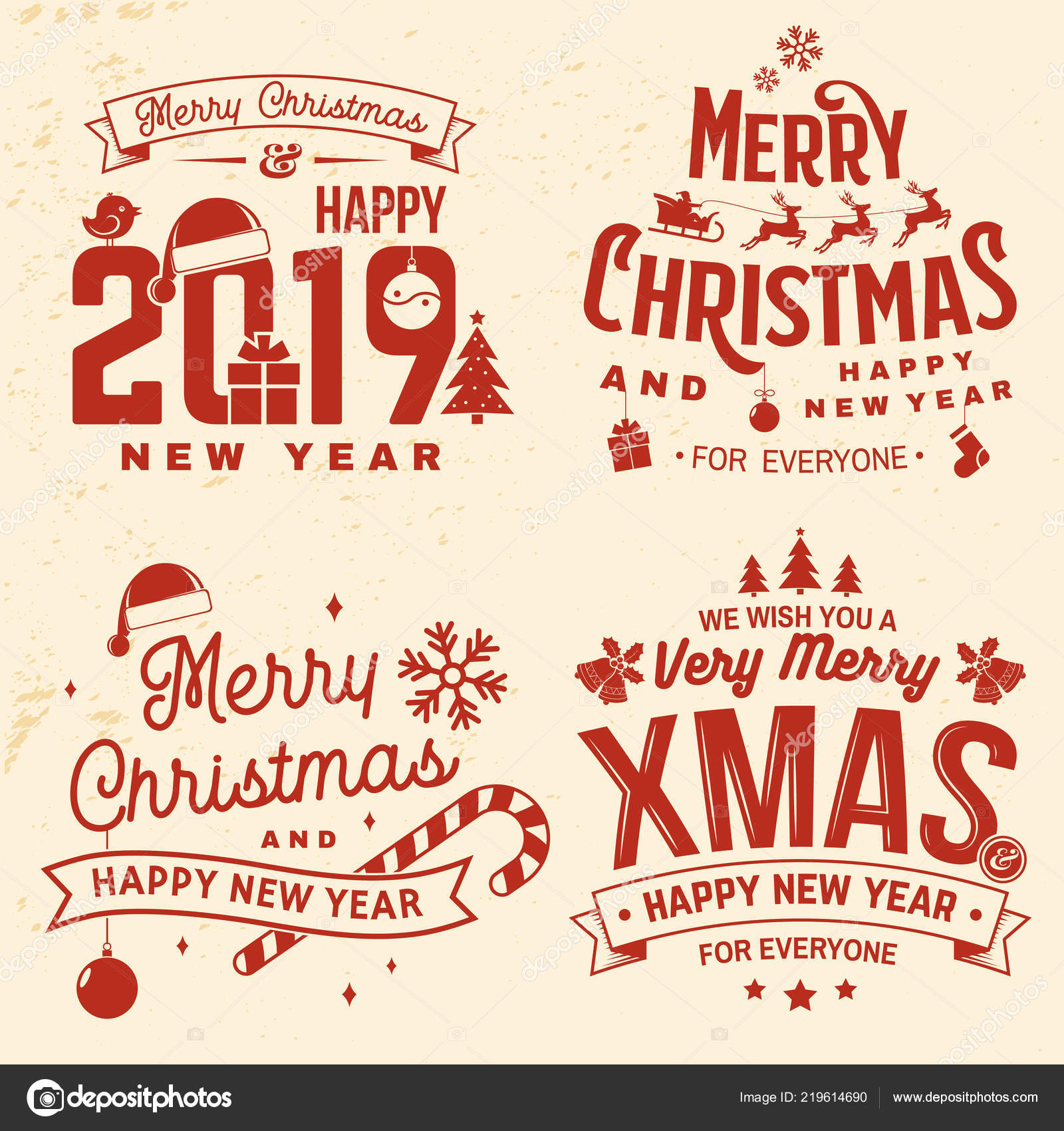 Set of Merry Christmas and Happy New Year stamp, sticker set with ...