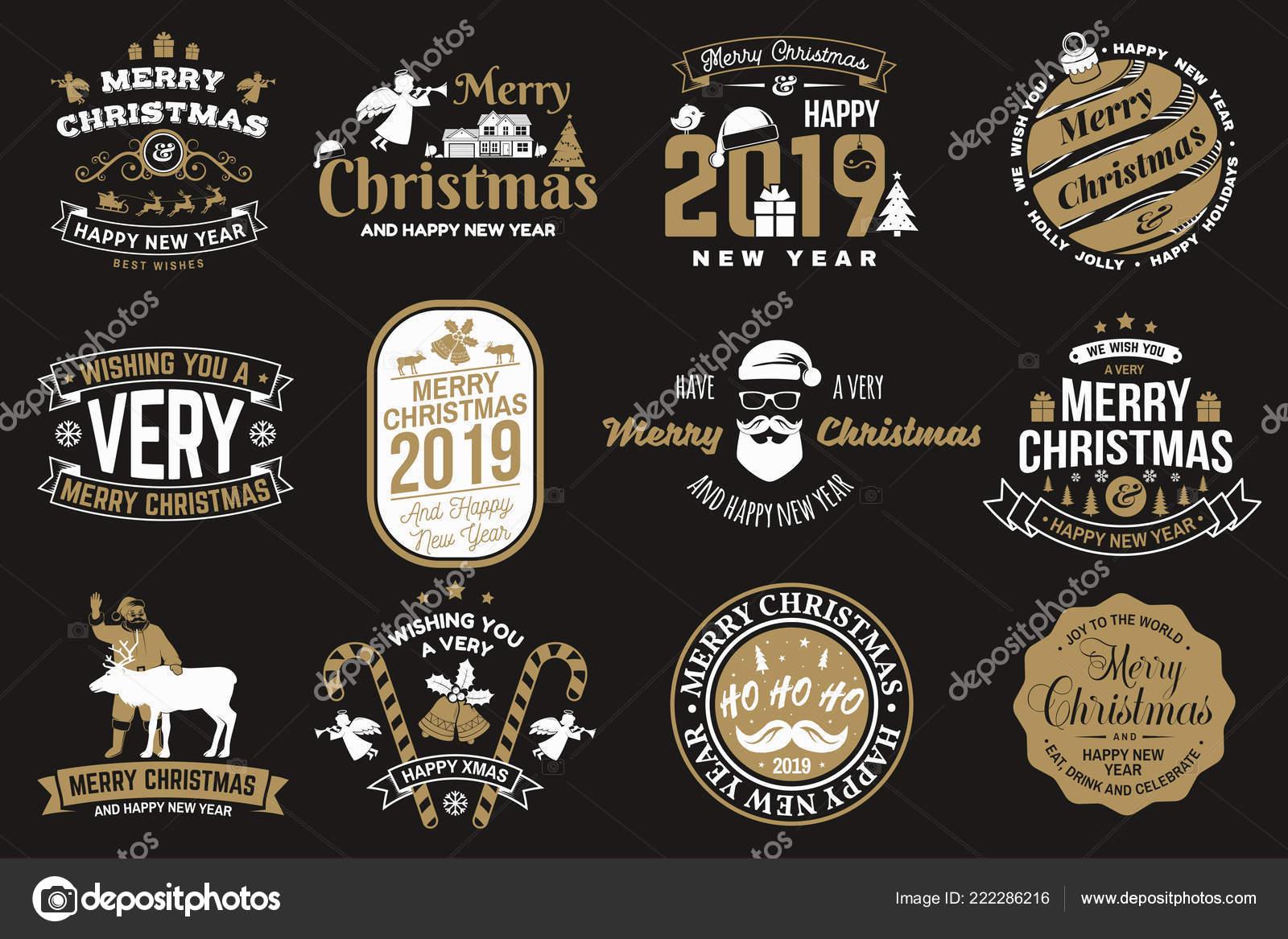 Juego De Feliz Navidad Y Feliz Ano Nuevo Sello Etiqueta Engomada