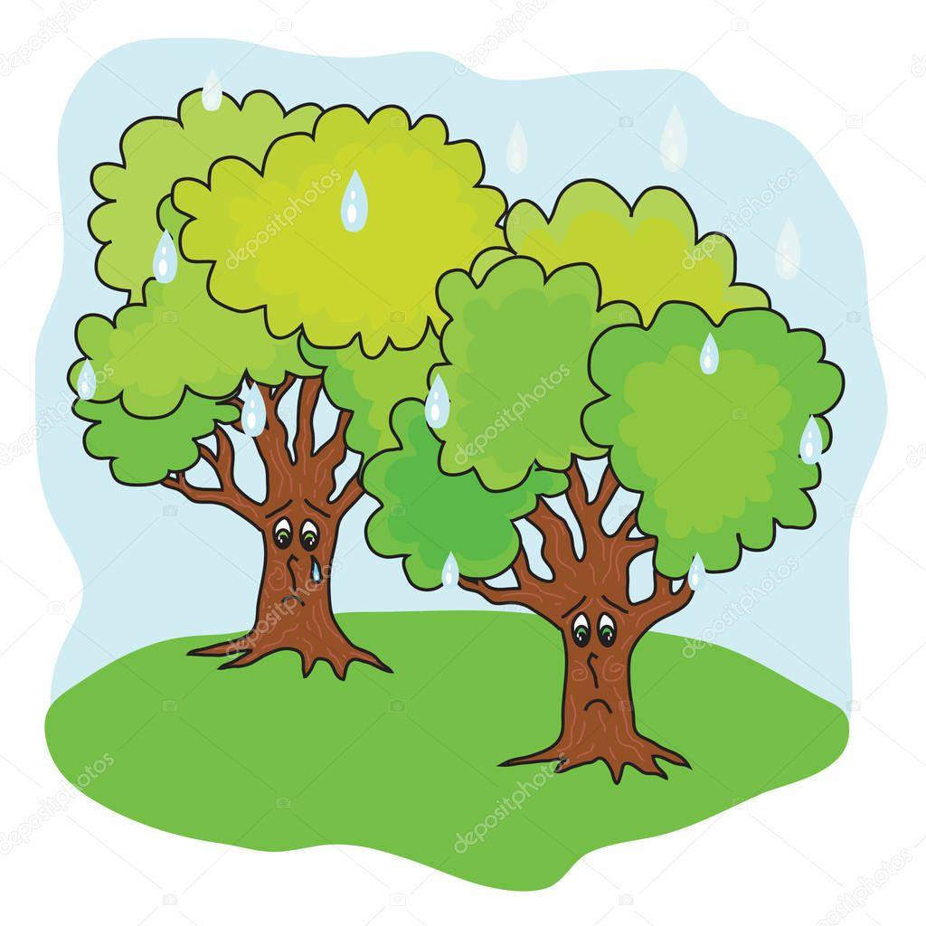 Large trees in the rain. The cartoon. Vector illustration.