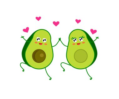 Enamored avocado and hearts on a white background. Cartoon. Vector illustration. stock vector
