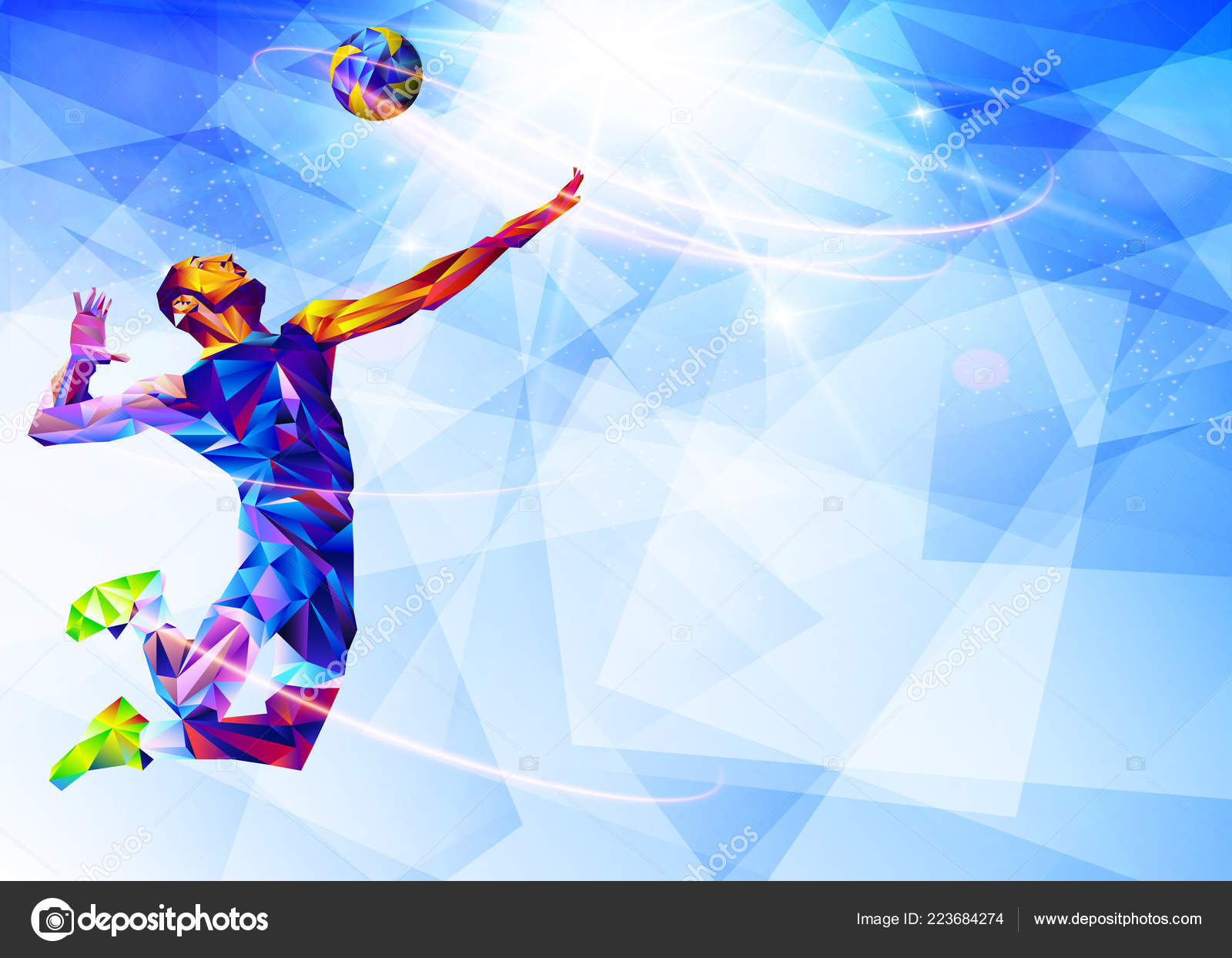Abstract Triangle Volleyball Player Silhouette Stock