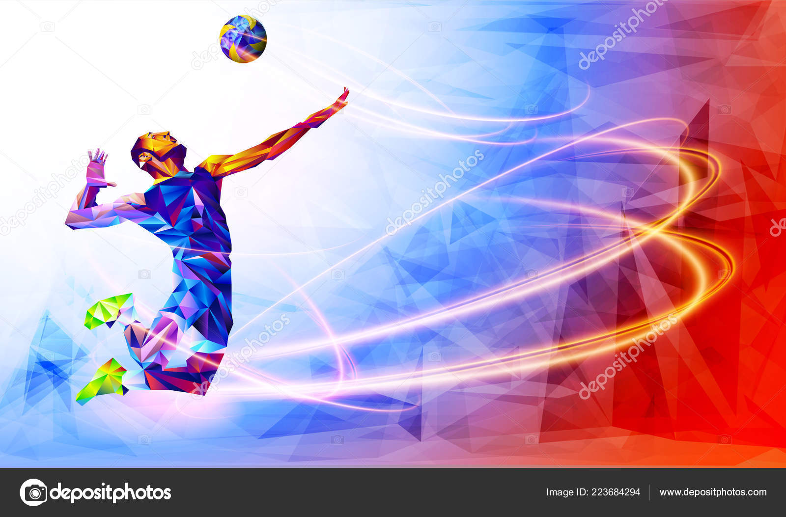 Illustration Abstract Volleyball Player Silhouette: Illustration Abstract Volleyball Player Silhouette