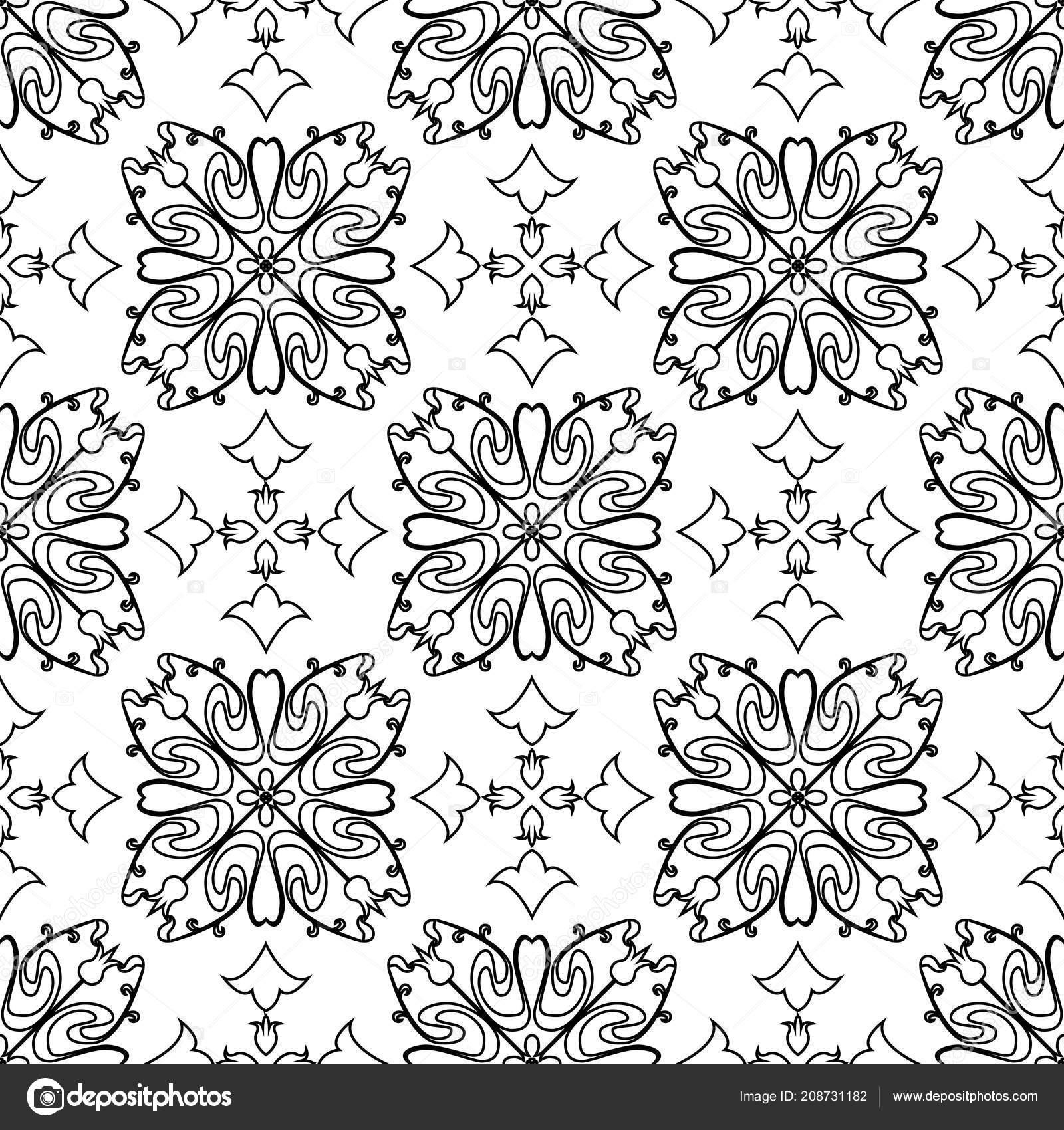 Vector Seamless Tiles Background Portuguese Style Back White Mosaic Border  U2014 Vetores De Stock