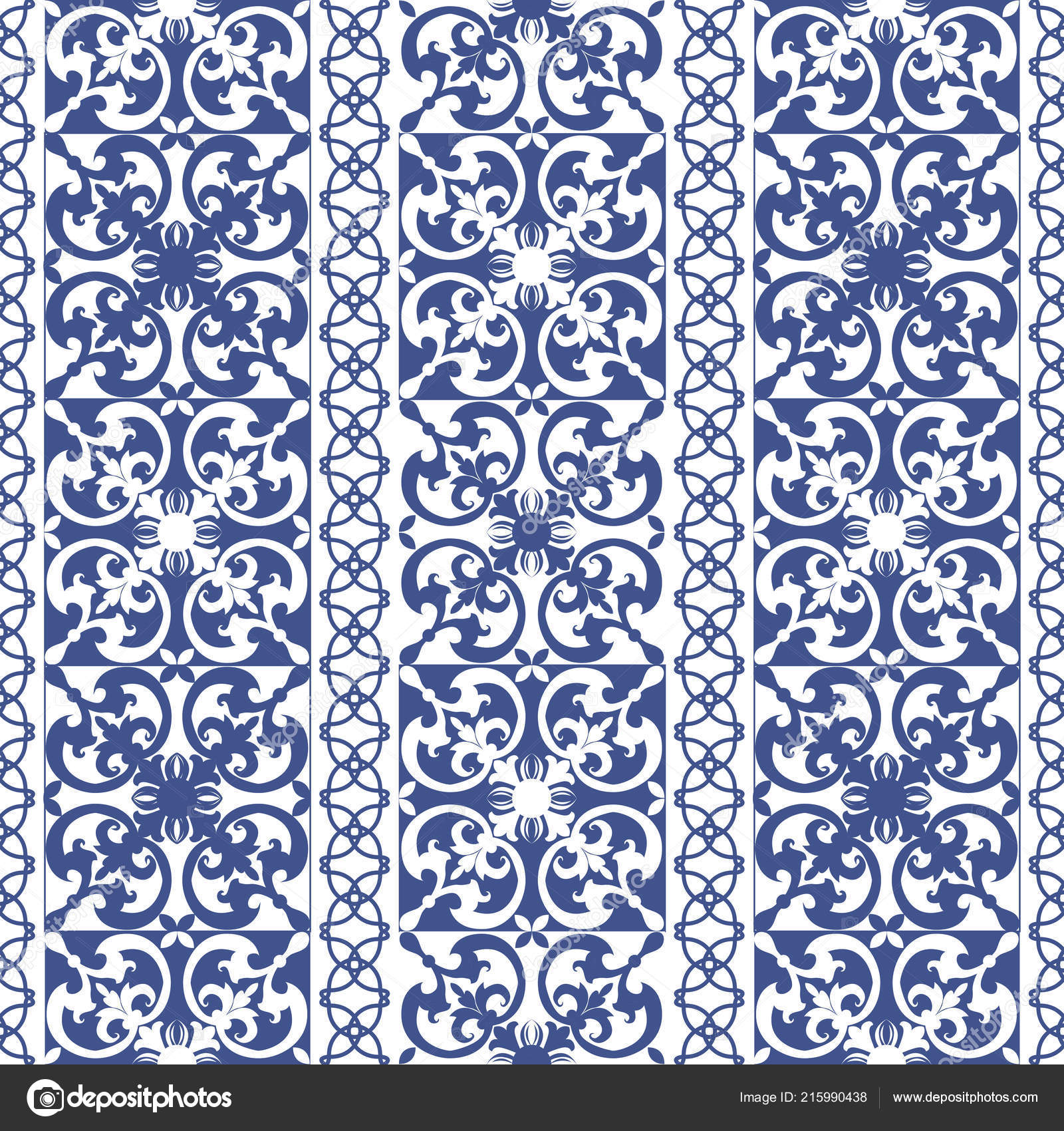 Vector Seamless Tiles Background Portuguese Style Blue White Mosaic Border  U2014 Stock Vector