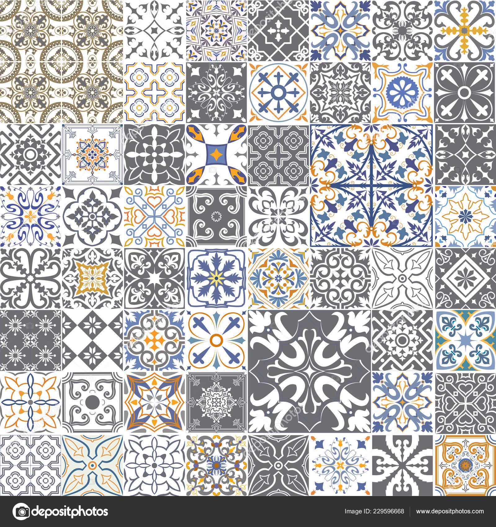 Großen Vektor Set Von Fliesen Portugiesischen Spanischen Italienischen Stil  Füru2013 Stockillustration