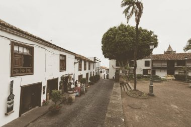 Icod, Spain - May 20, 2018: Architecture of Icod town on Tenerife, Spain.
