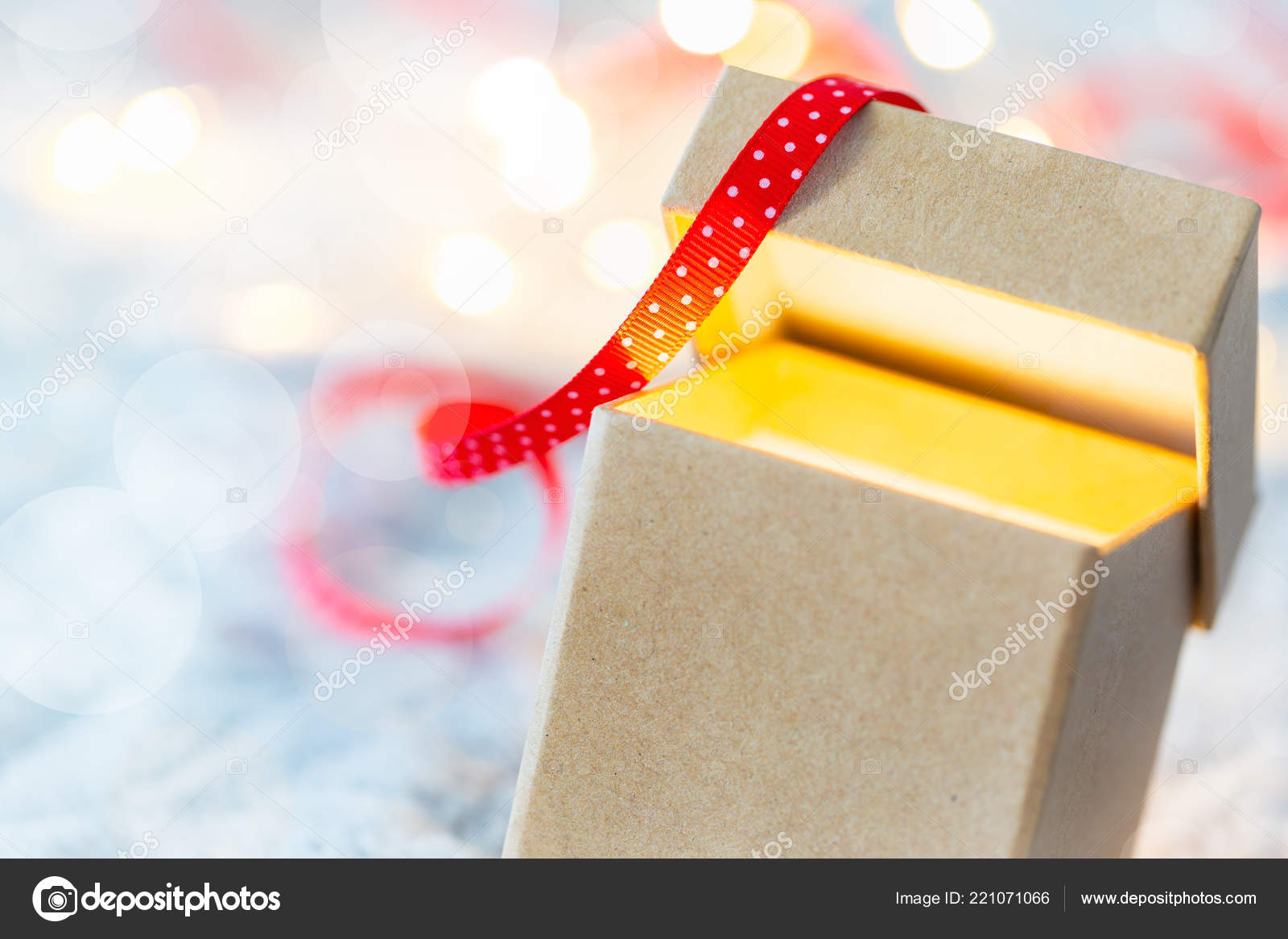 Small Cardboard Gift Boxes Bokeh Effect Concept Christmas Sale