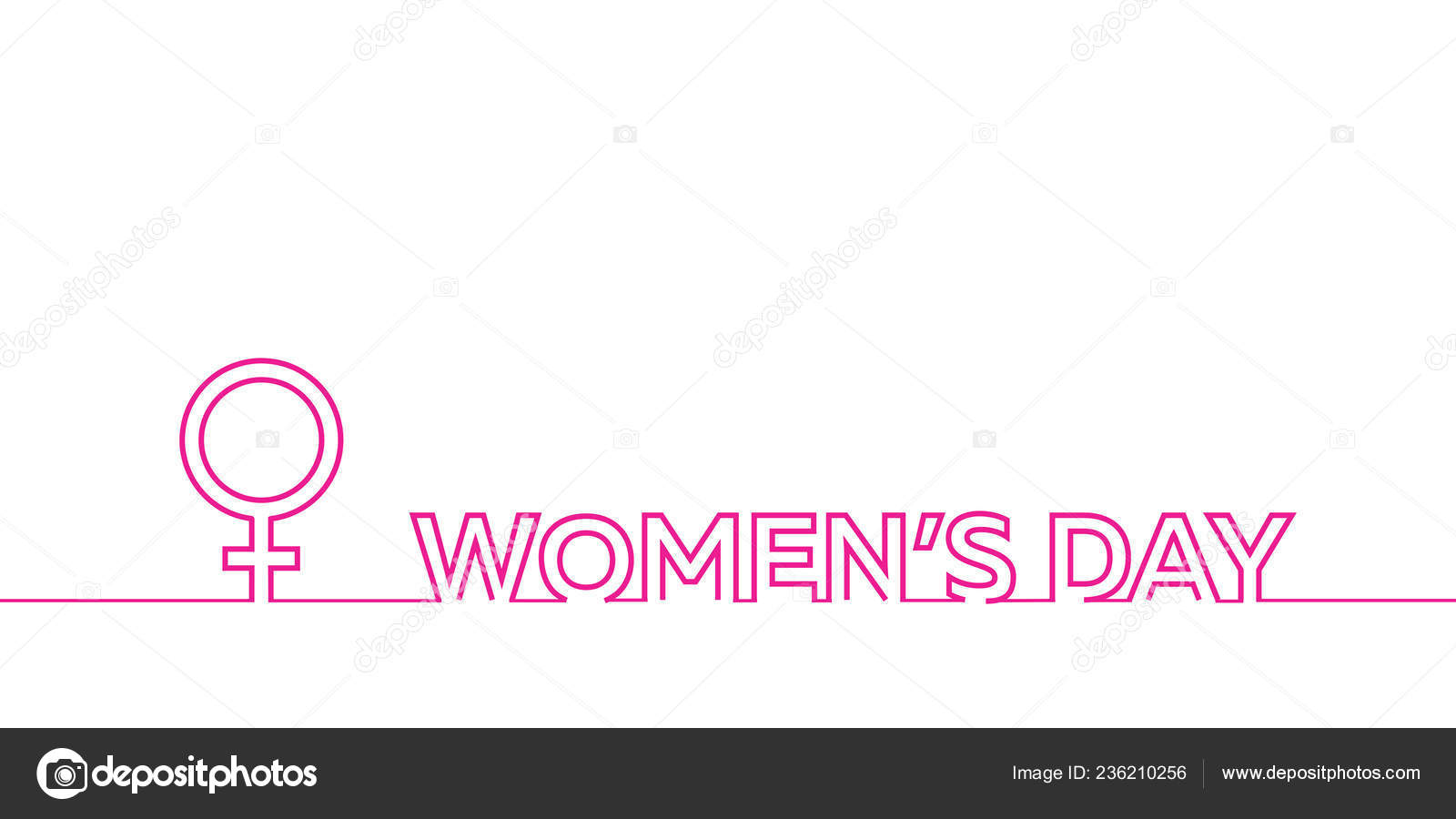 Happy Womans Day March Elegant Calligraphy Banner