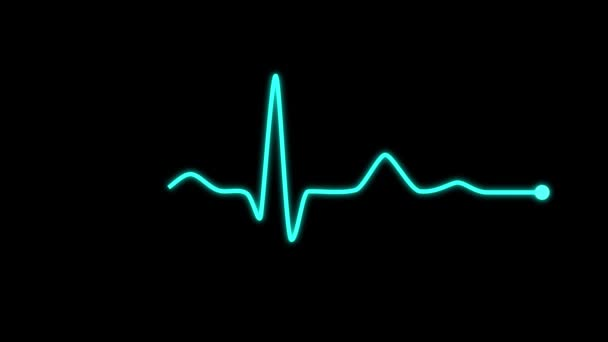 EKG Line Animation. Blue glowing ECG monitor shows the calm heart beat.