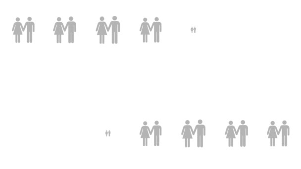 Gay couple infographic surrounded by straight couples. Blue gay couple icon animation. 4K 2D render footage, seamless loop