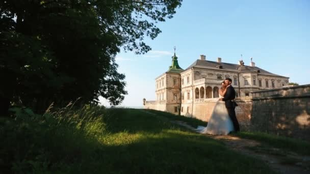 Full-length view of the young gorgeous couple of newlyweds enjoying the nature and softly kissing at the background of the old castle.
