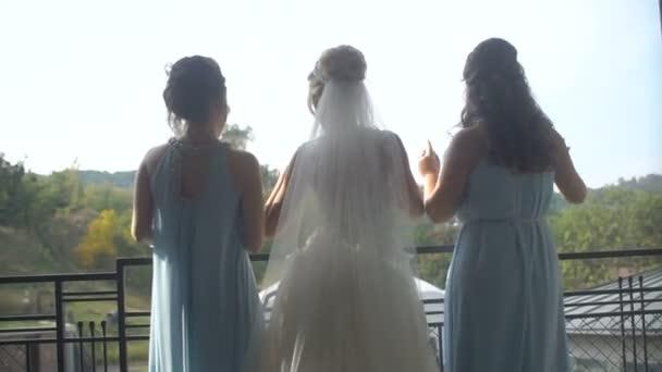 75941bd07 Vista traseira da noiva elegante vestido longo luxo e suas duas damas de  honra em vestidos de azuis estão dançando alegremente na varanda– gráficos  de vetor