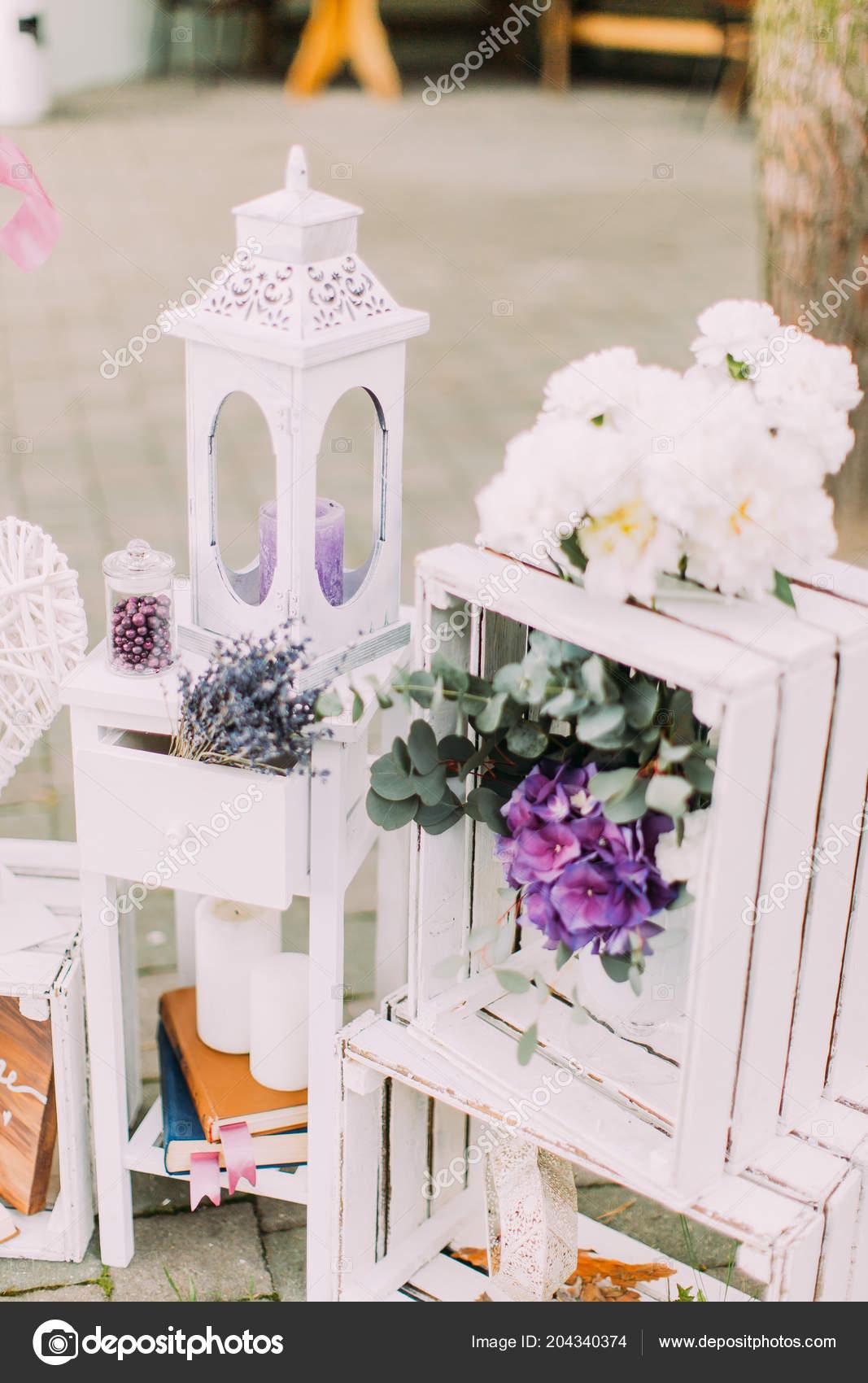 Vintage Hochzeit Komposition Weissen Kiste Dekoriert Mit Bunten