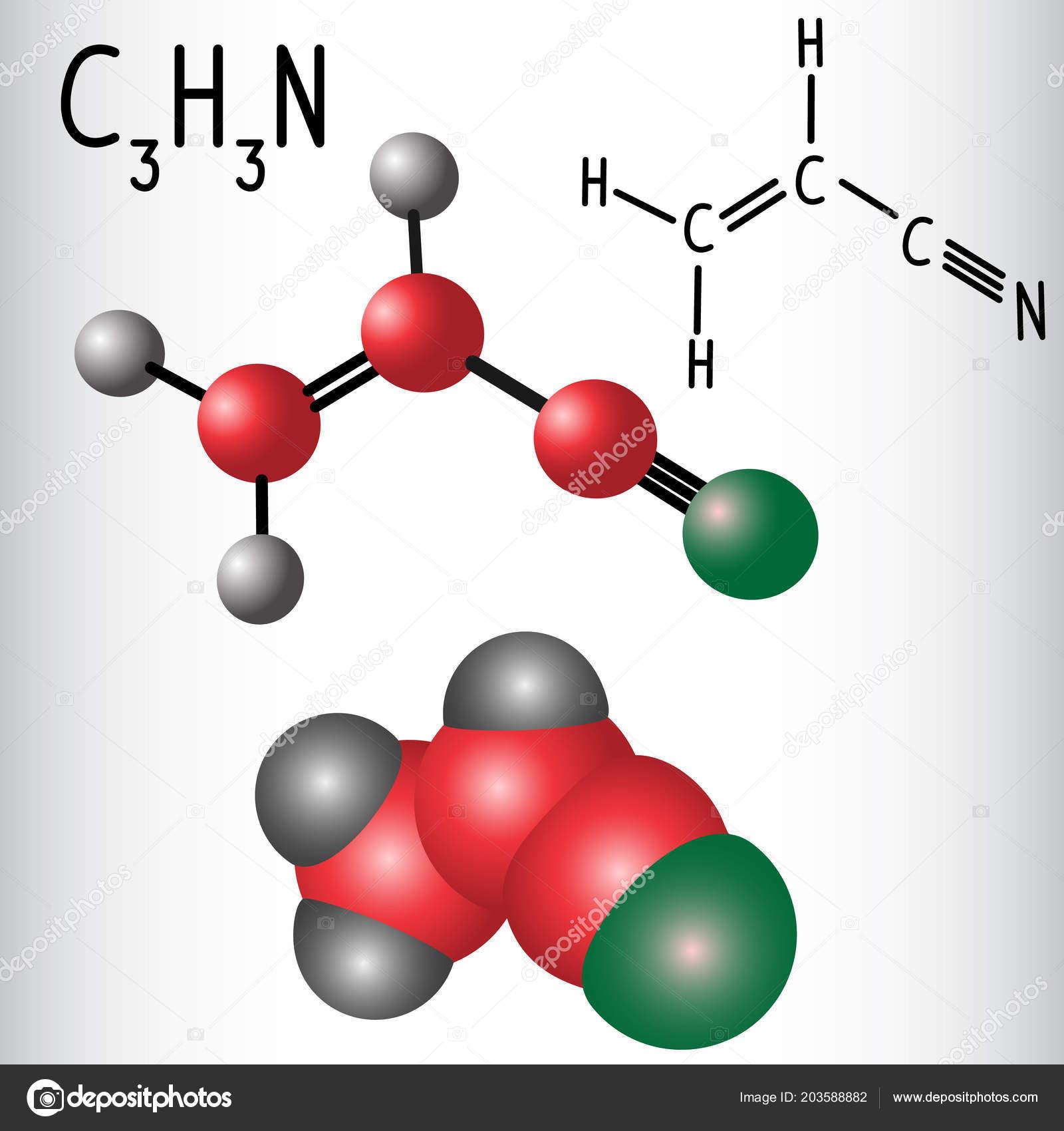Acrylonitrile Molecule Structural Chemical Formula Model Used