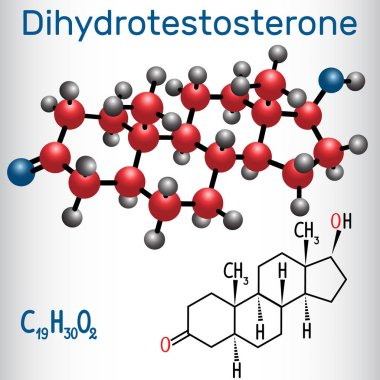 Dihydrotestosterone DHT (androstanolone, endogenous androgen sex hormone ) - structural chemical formula and molecule model. Vector illustration