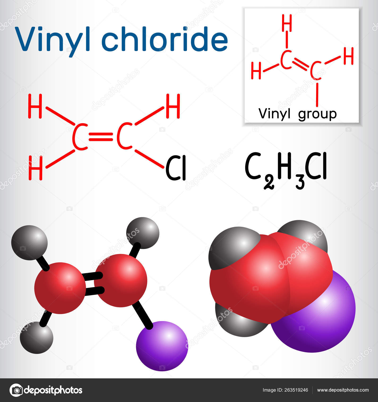 Vinyl chloride molecule  It is also called vinyl chloride