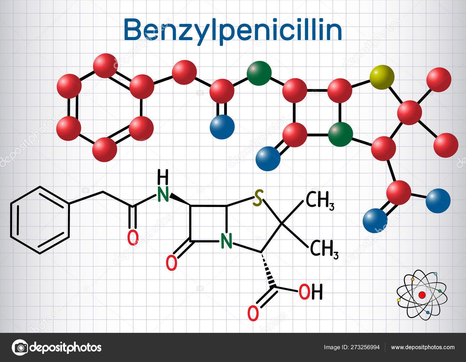 Benzylpenicillin penicillin G drug molecule  It is beta