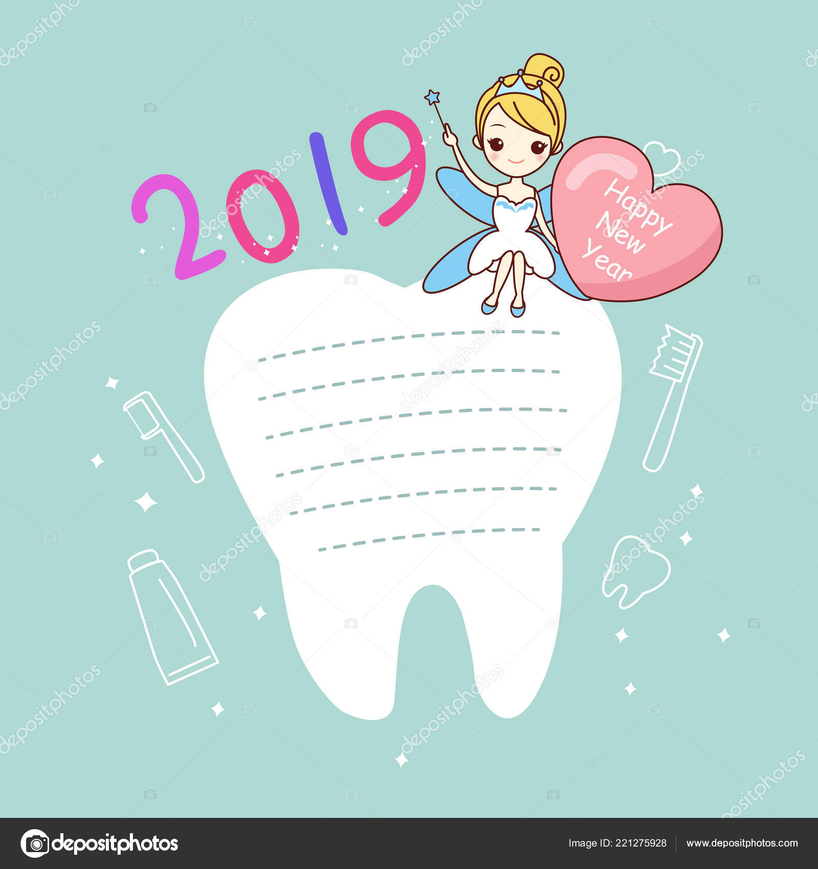 happy new year concept cute cartoon tooth note tooth fairy stock vector