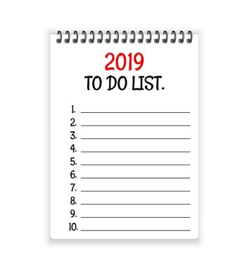 2019 to do list. Open spiral notebook paper vector background