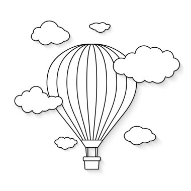 Hot air balloon with clouds for coloring book