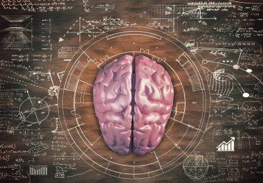 Brain against a wooden table full of math formulas