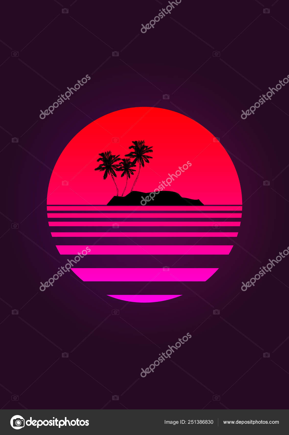 Silhouette Coconut Palm Trees On A Gradient Background Sunset