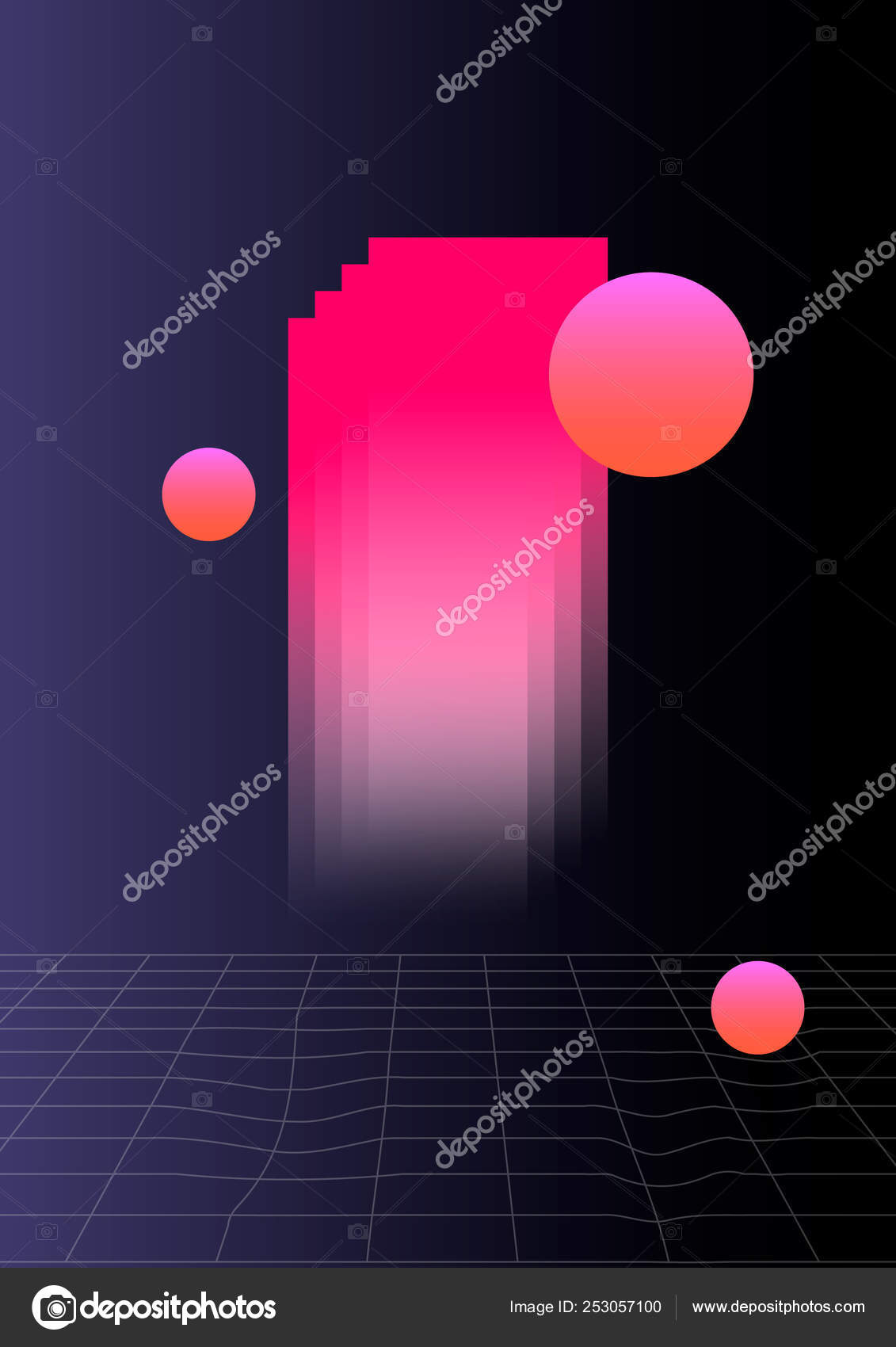 Abstract Shapes Composition On The Dark Background Vaporwave