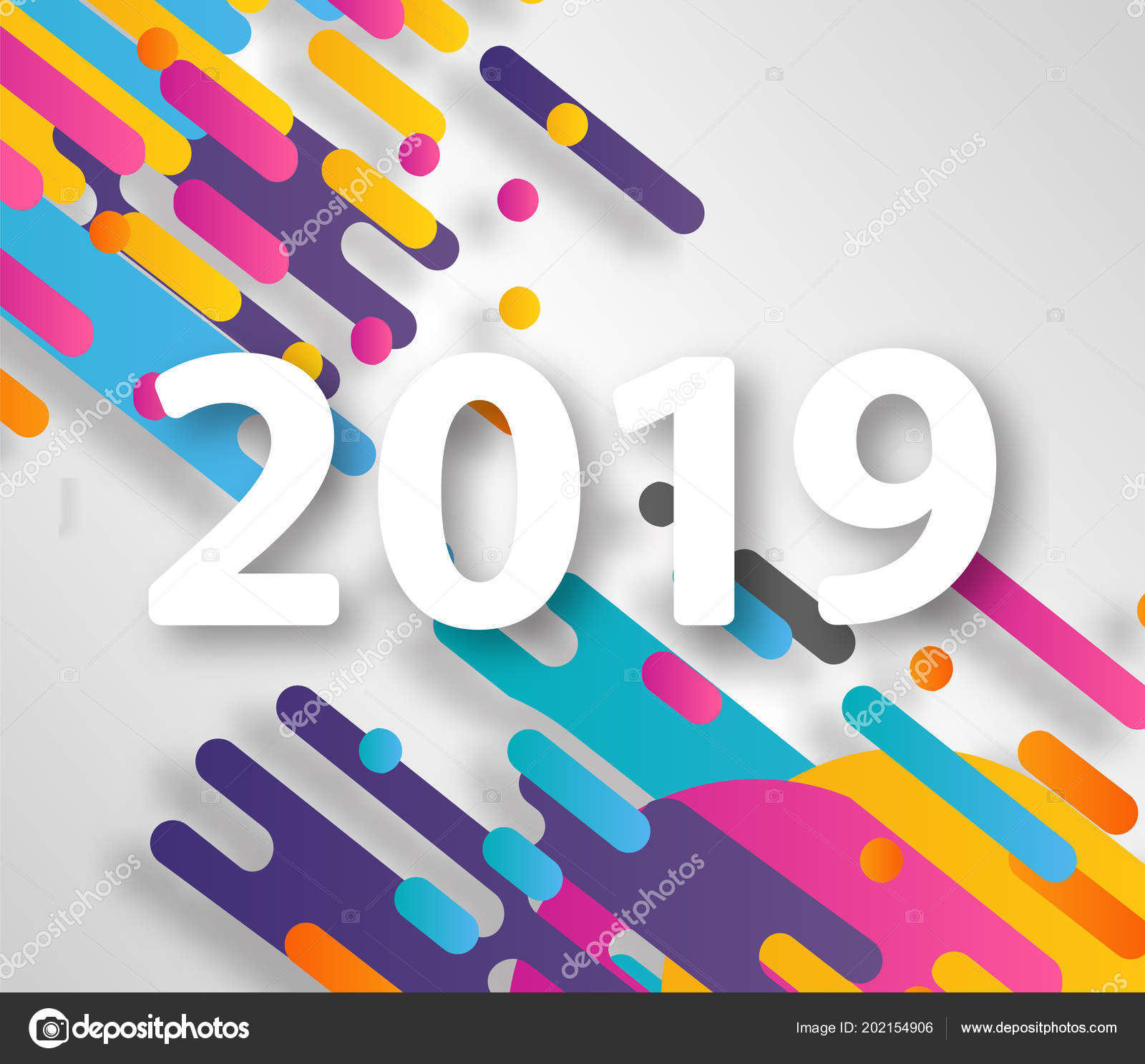 2019 new year on the background of a colorful halftone hipster design element for presentations flyers leaflets postcards and posters
