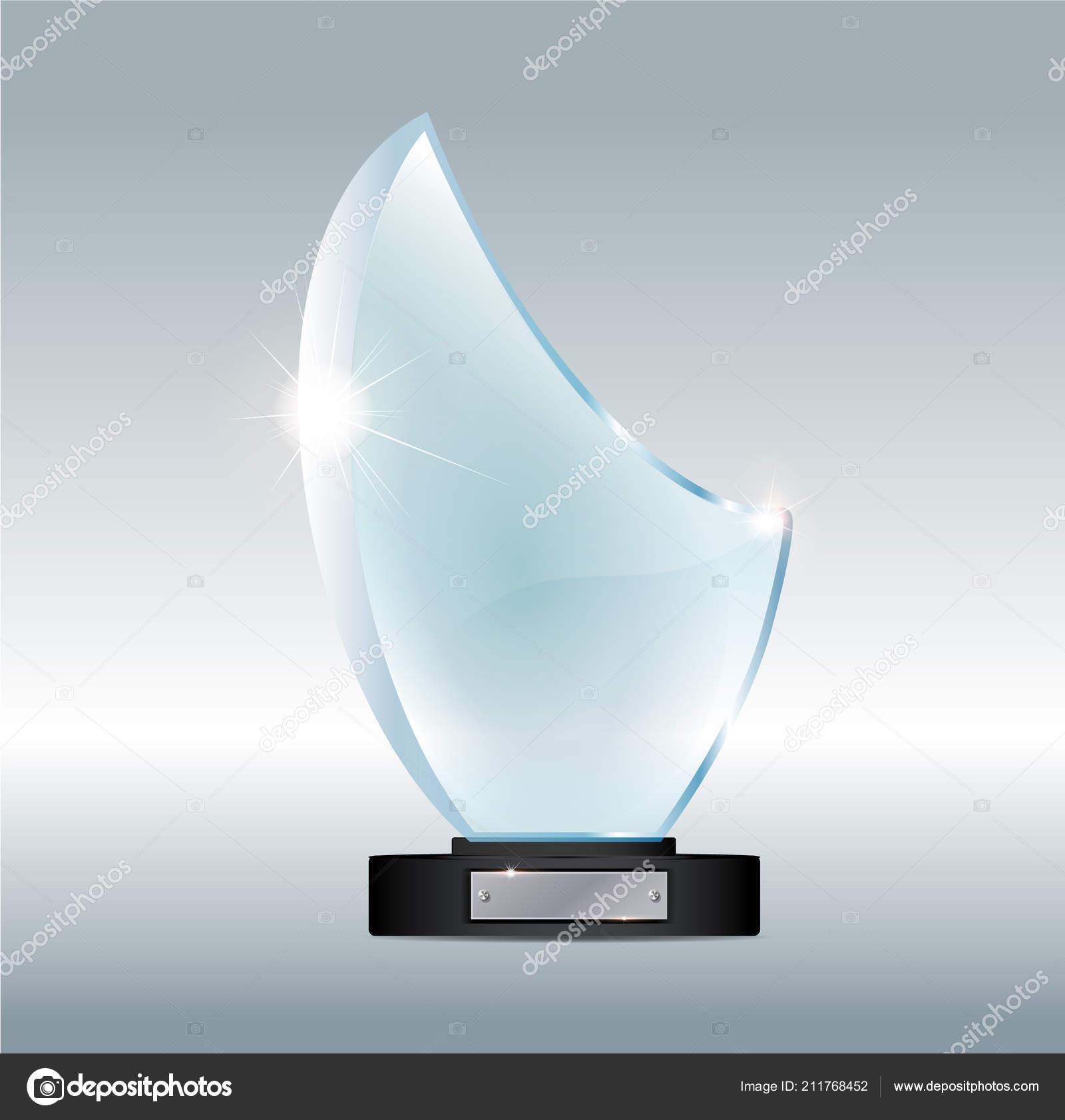 Glass plaque mockup | Blank tall glass trophy mockup  Empty