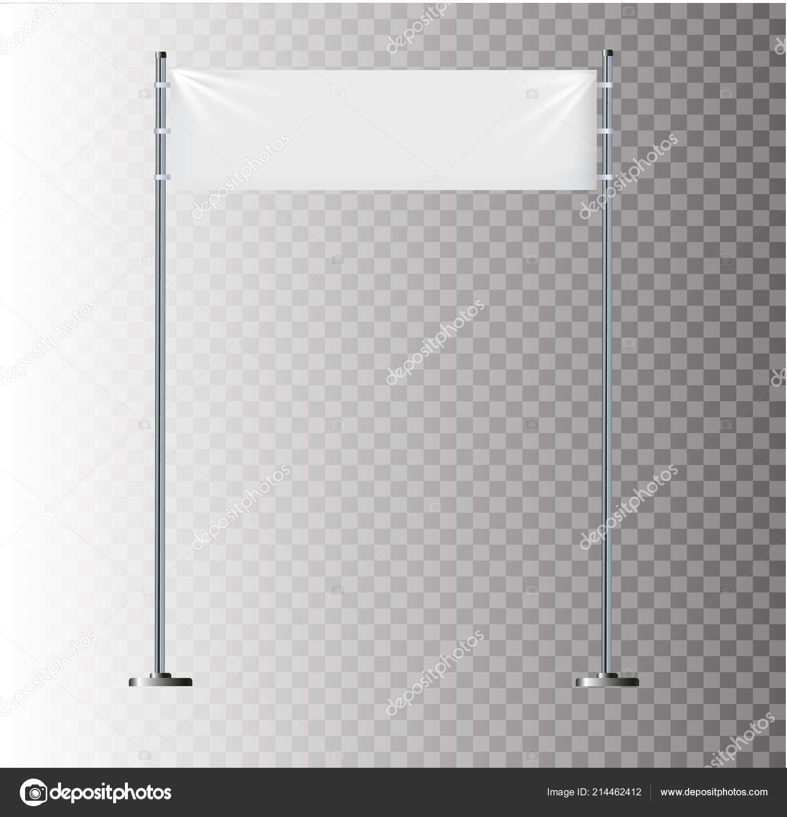 White textile banners with folds  Blank hanging fabric