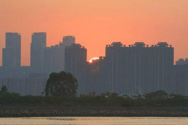 a sunset at Kwun Tong Typhoon Shelter