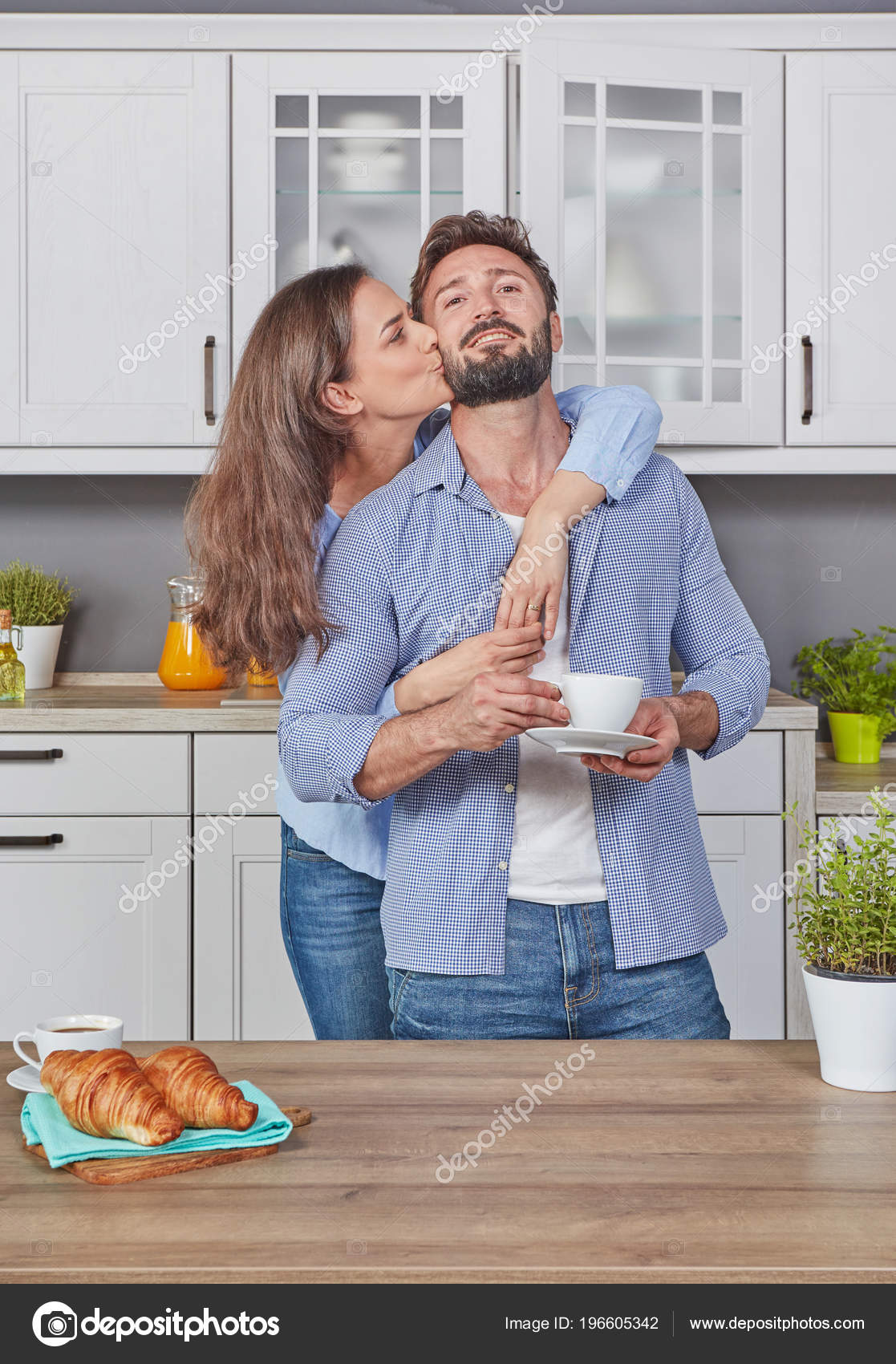 Young Couple Love Kitchen Enjoying Coffee Stock Photo Image By C Goir 196605342