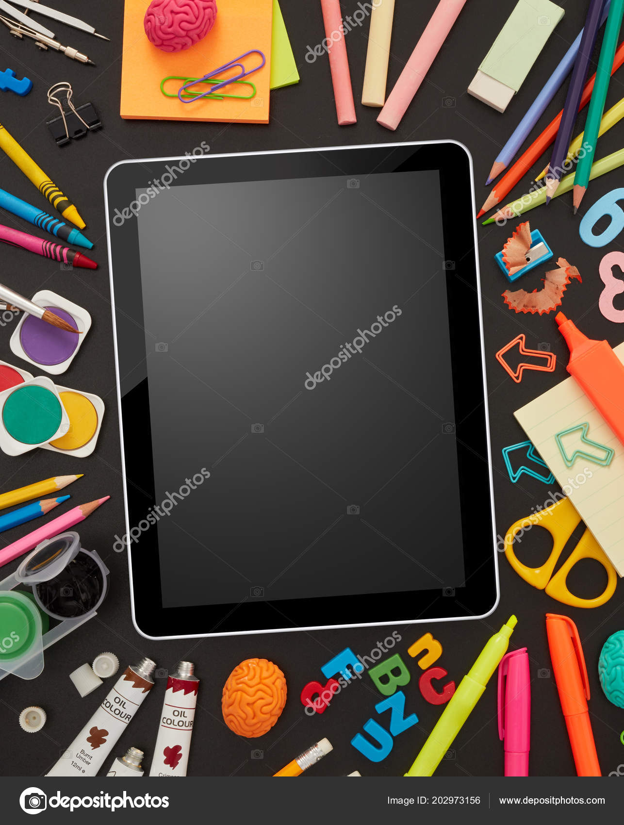 Digital Tablet School Supplies Blackboard Stock Photo Goir