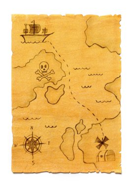 Pirate treasure map isolated