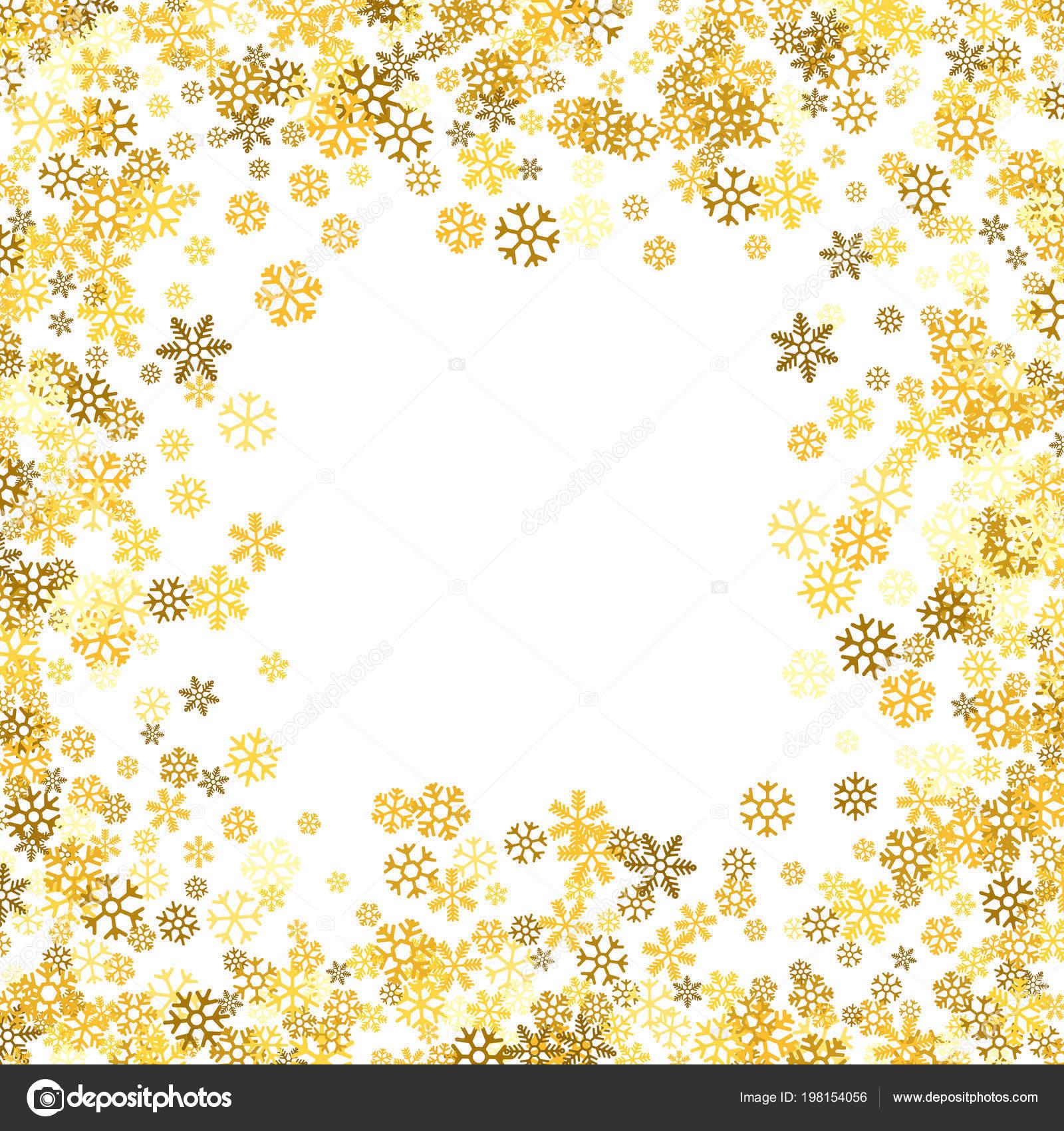 2d474656c07 Square gold frame or border of random scatter golden snowflakes on white  background. Design element for festive banner