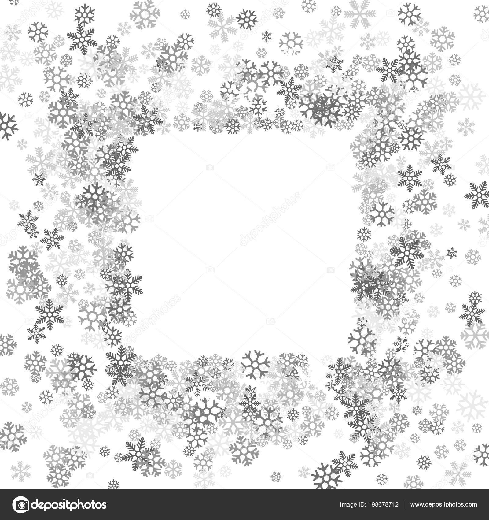 5954389be0f Square silver frame or border of scatter platinum snowflakes on white  background. Design element for festive banner