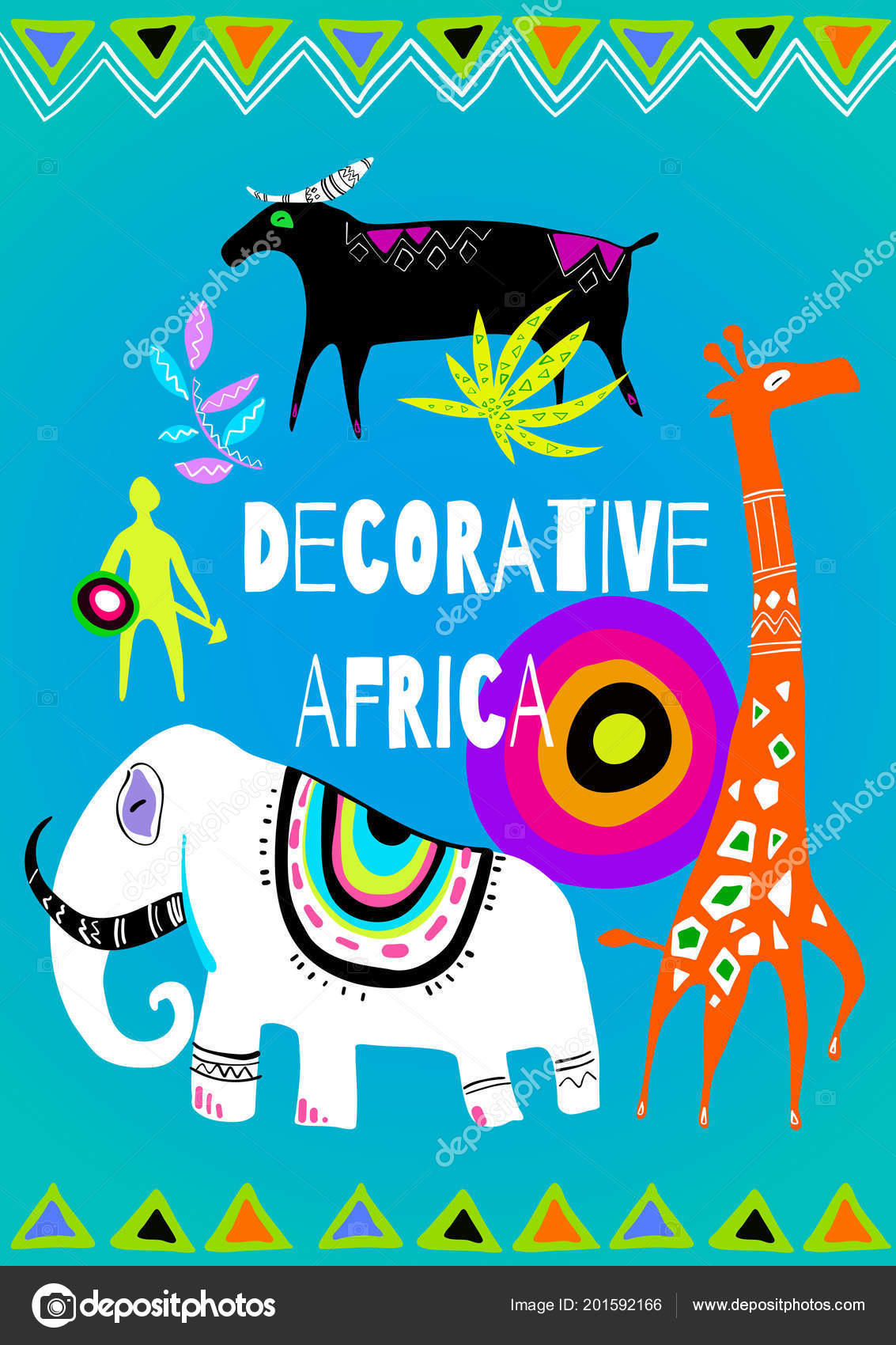 Decorative Stylized African Animals Vector Illustration Great Print