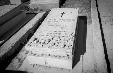 JERUSALEM, ISRAEL. October 30, 2018. A grave of a German industrialist Oskar Schindler who saved Jews during Holocaust. The phrase in German:
