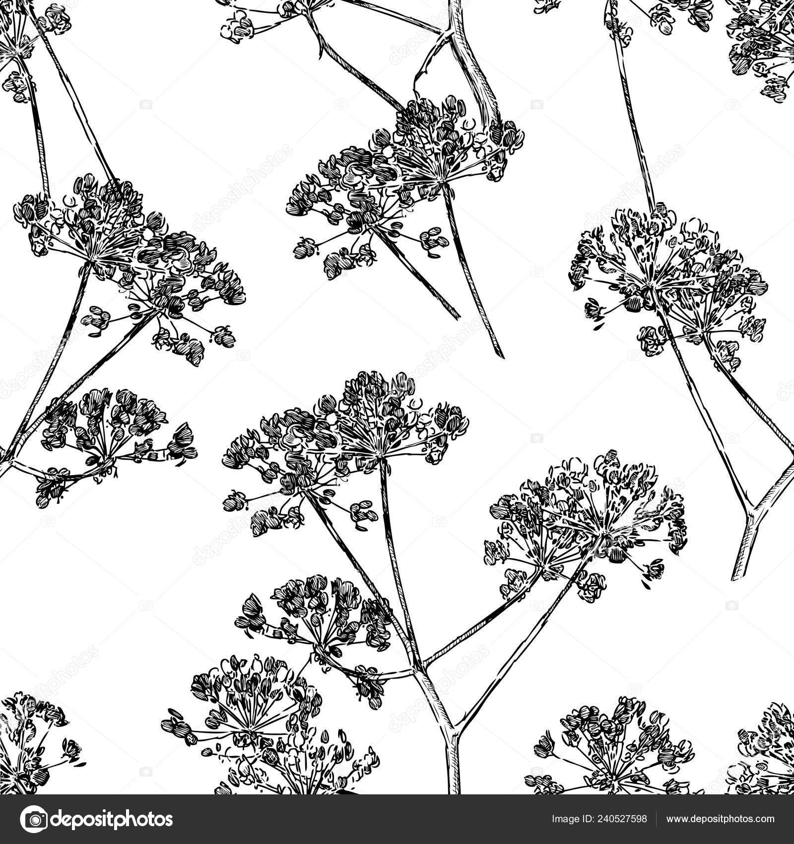 Seamless pattern sketches umbrella plants stock vector