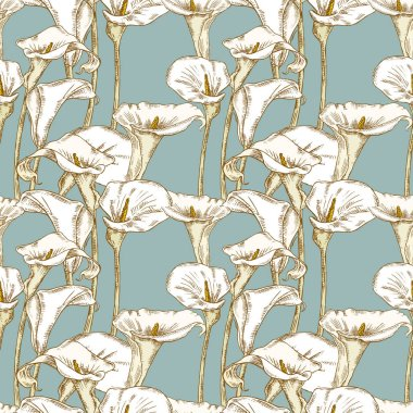 Seamless background of calla lilies sketches