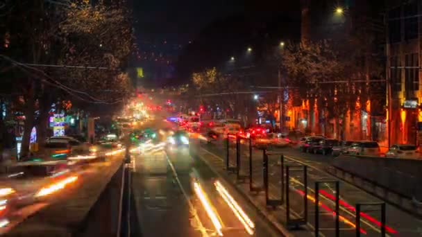 Time lapse video of cars with a long exposure at night in Yerevan on street Mashtots.