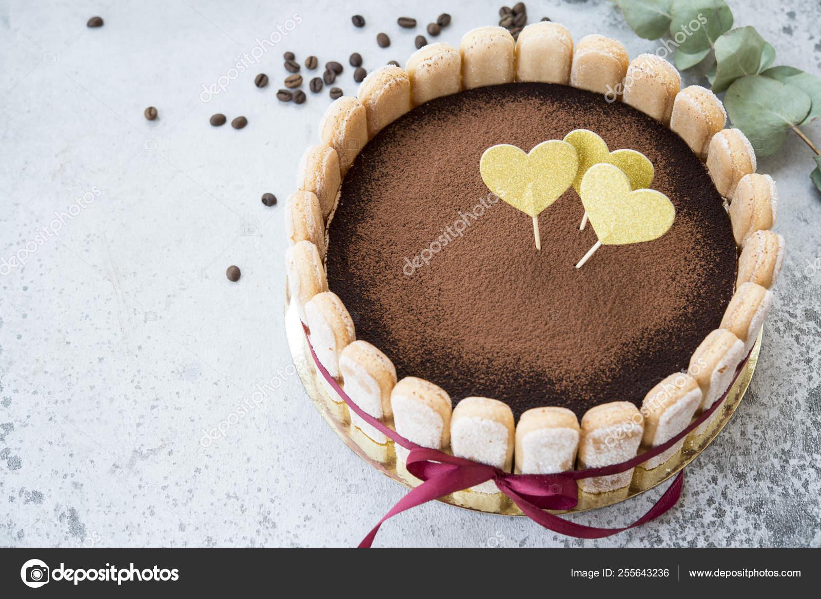 Fine Birthday Cake Traditional Italian Tiramisu Dessert Stock Photo Funny Birthday Cards Online Amentibdeldamsfinfo