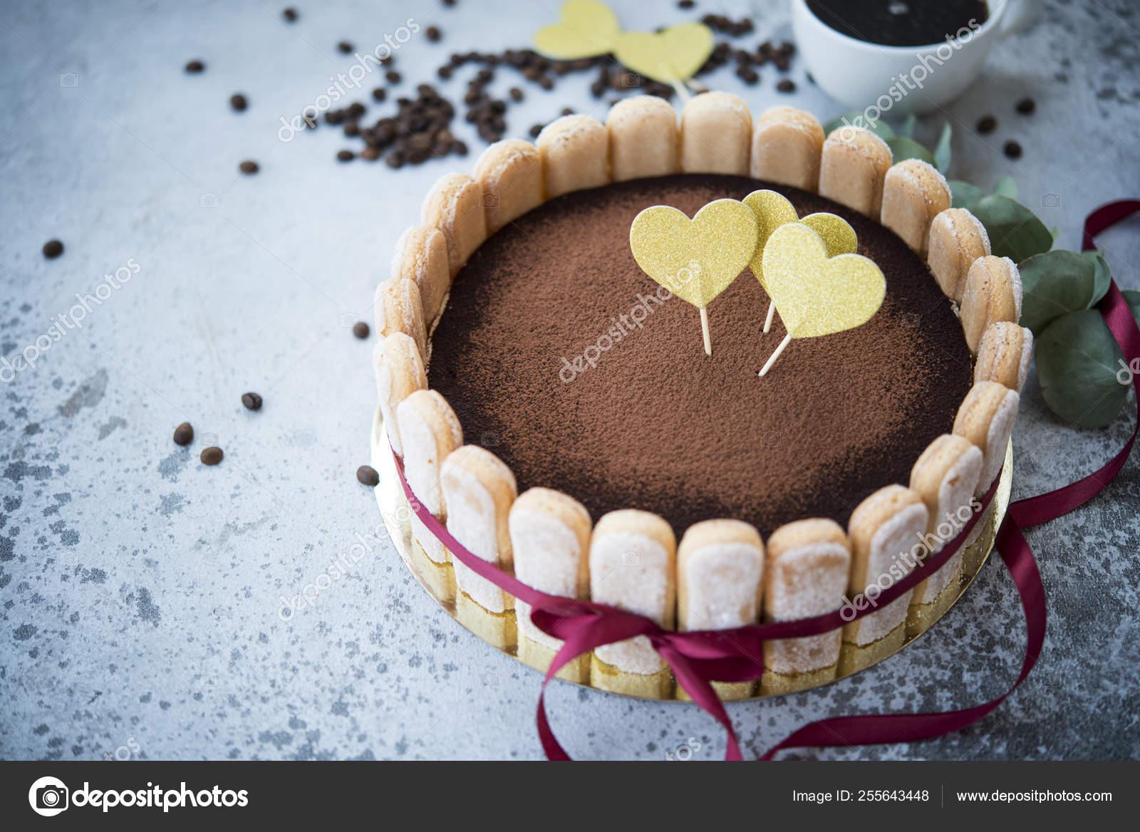 Outstanding Birthday Cake Traditional Italian Tiramisu Dessert Stock Photo Funny Birthday Cards Online Amentibdeldamsfinfo