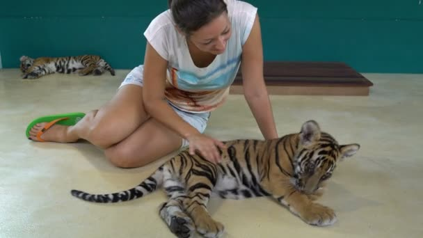 Woman plays with Tiger Cub