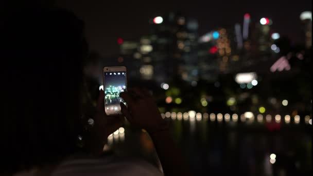 Woman takes a smart city night