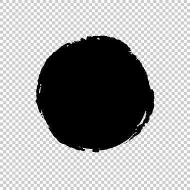 Circle Brush Stroke. Ink print of stamp. Distress Frame. Black round banner, logo, design element. Seamless transparent background with a chessboard. Vector illustration for your design