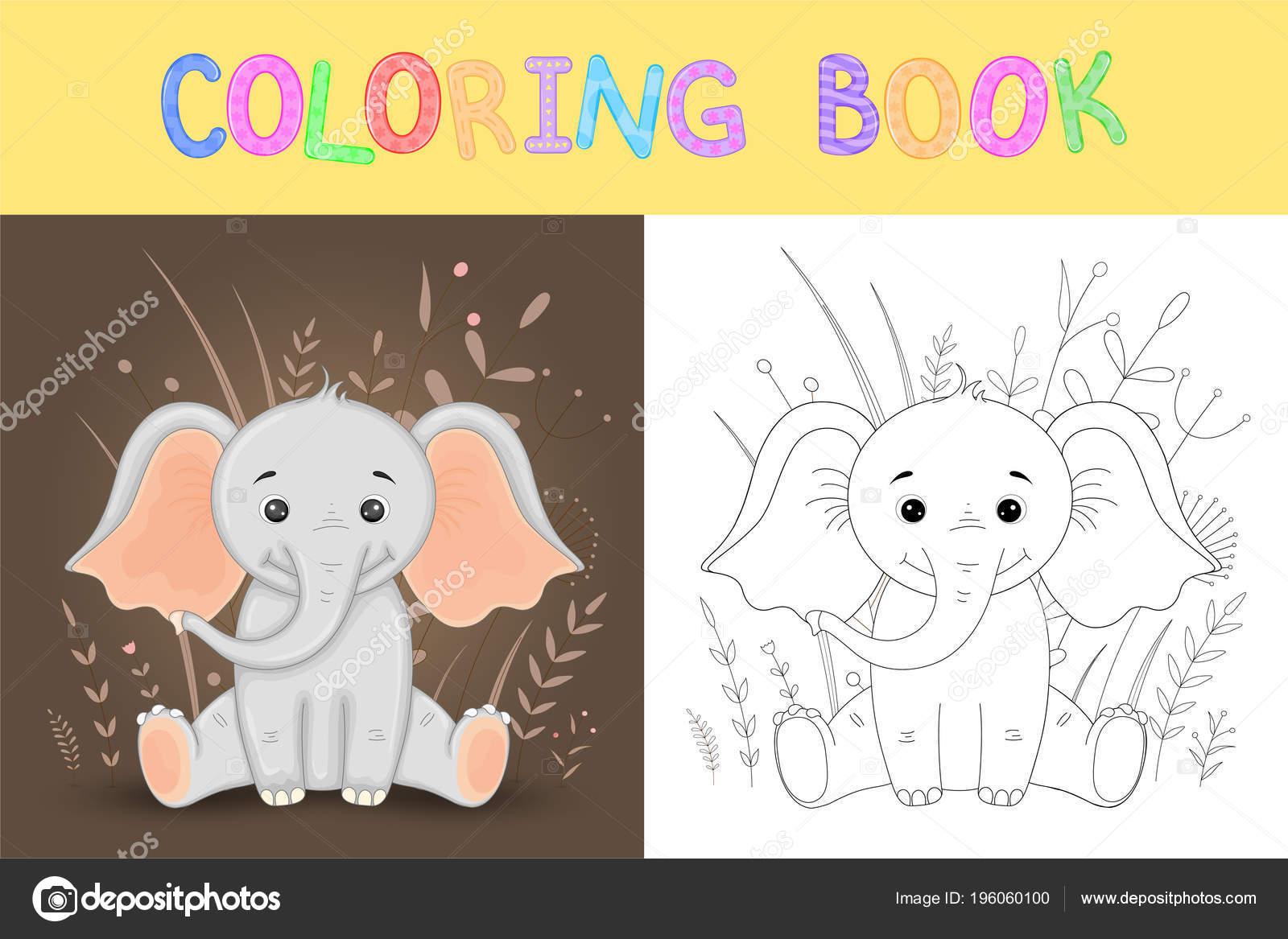 çocuk S Boyama Kitabı Sevimli çizgi Fil Ve Afrika Doğa